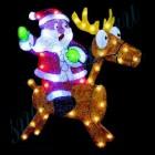 """Световое панно """"Санта-Клаус на олене"""" со светодиодами PKQE080149"""